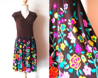 Brown Floral Wrap Dress