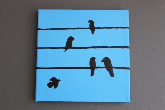 Hand Painted: Birds on a wire - ready to hang canvas