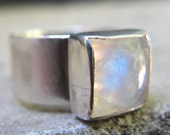 Moonstone Ring, Sterling Silver Ring, Rainbow Moonstone,  Wide Band, Handmade