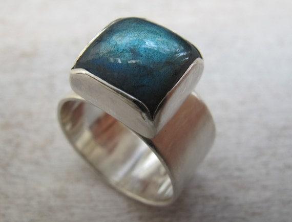 Labradorite Ring/ Sterling Silver Ring/Gemstone ring/ Wide Band/ Made to order