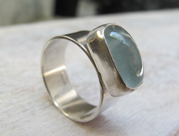 Aquamarine Sterling Silver Ring/ Handmade Silver Ring with Aquamarine Gemstone