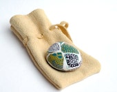 Story Stone nr.07 in soft Leather Medicine Pouch - Original Art - Painted Stones