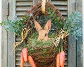 Door Wreath Spring Easter Wreath Bunny Easter Front Door Wreath with Carrots - Last One Available