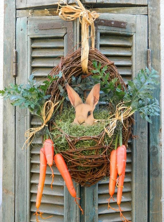 Door Wreath Spring Easter Wreath Bunny Easter Front Door Wreath with Carrots - Last One Available
