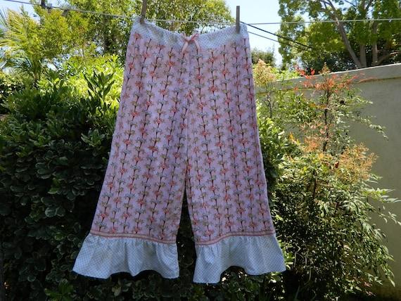 Women's Lounge Pants Cottage Chic - Shabby Chic Womens Wide Leg Lounge Pants, Pajama Pants