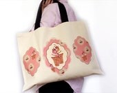 Shabby chic bag, Pink, Icecream, Natural canvas, Retro, Vintage, 70s style, Unique print of original illustration