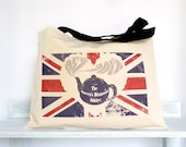 Queen's Diamond Jubilee, Canvas Bag, Union Jack, Teapot, Red, Blue, Vintage, Shabby Chic