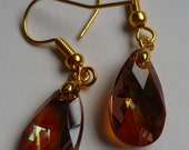 Swarovski Dangle Earrings: Beautiful Teardrop Collection (Copper) Made with faceted Swarovski Crystals and yellow gold bail