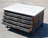 UPCYCLED COFFEE TABLE repurposed map drawers barnwood top reclaimed, urban chic
