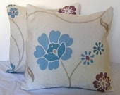 Pair of Throw Pillow Covers Cushion Covers 16 x 16 inches Blue Purple Beige Floral John Lewis Designer Fabric