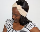 Soft Knit Bow Headband-- Pale Yellow