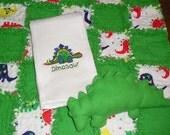 Dinosaur Flannel Rag Quilt - Security Blanket