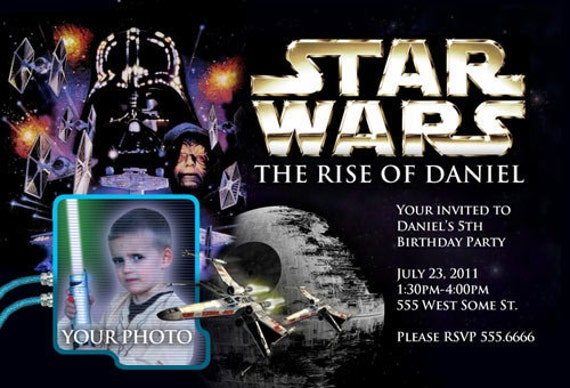 Fabulous Invitations d'anniversaire de Star Wars inviter CUSTOM NS45