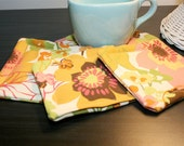 Fabric Coasters in Multi-Color Flower Print - Mug Rug - Set of Four - Drink Coaster Set