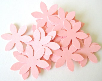 50 PINK Flower Die cuts punches cardstock 1 inch -Scrapbook, cards, embellishment, confetti