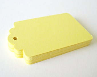 50 YELLOW Hang Tag, Gift Tag, Price Tag Die cuts punches cardstock 2.25X1.5 inch -Scrapbook, cards
