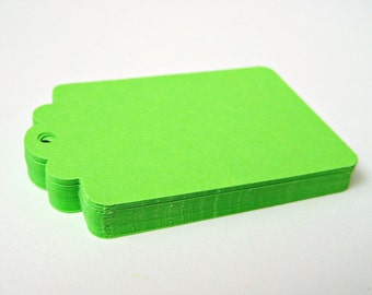 50 APPLE GREEN Hang Tag, Gift Tag, Price Tag Die cuts punches cardstock 2.25X1.5 inch -Scrapbook, cards
