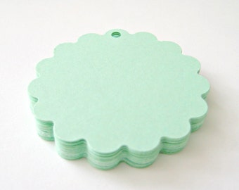 25 MINT GREEN Scallop Hang Tag, Gift Tag, Price Tag Die cuts punches cardstock 1 7/8 inch -Scrapbook, cards