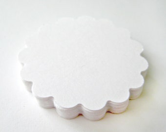 25 WHITE Scallop Die cuts punches cardstock -Scrapbook, cards, embellishment, confetti