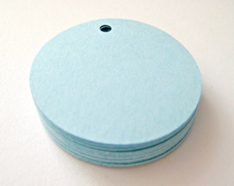 25 LIGHT BLUE Circle Hang Tag, Gift Tag, Price Tag Die cuts punches cardstock 1.5 inch -Scrapbook, cards