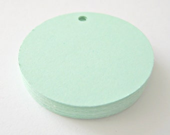 25 MINT GREEN Circle Hang Tag, Gift Tag, Price Tag Die cuts punches cardstock 1.5 inch -Scrapbook, cards