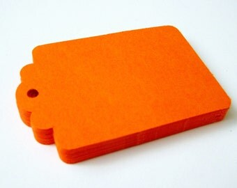 50 ORANGE Hang Tag, Gift Tag, Price Tag Die cuts punches cardstock 2.25X1.5 inch -Scrapbook, cards