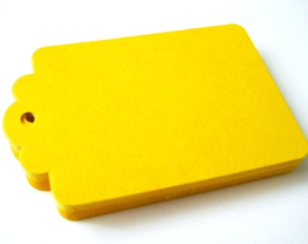 50 AMBER YELLOW Hang Tag, Gift Tag, Price Tag Die cuts punches cardstock 2.25X1.5 inch -Scrapbook, cards