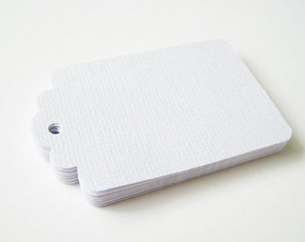 50 WHITE Texture/Smooth Hang Tag, Gift Tag, Price Tag Die cuts punches cardstock 2.25X1.5 inch -Scrapbook, cards