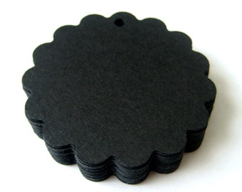 25 BLACK Scallop Hang Tag, Gift Tag, Price Tag Die cuts punches cardstock 1 7/8 inch -Scrapbook, cards