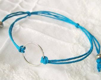 Karma Circle eternity infinity Unity Bracelet - Turquoise Blue