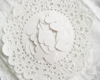 50 WHITE Hearts Die cuts punches cardstock 5/8 inch -Scrapbook, cards, embellishment, confetti
