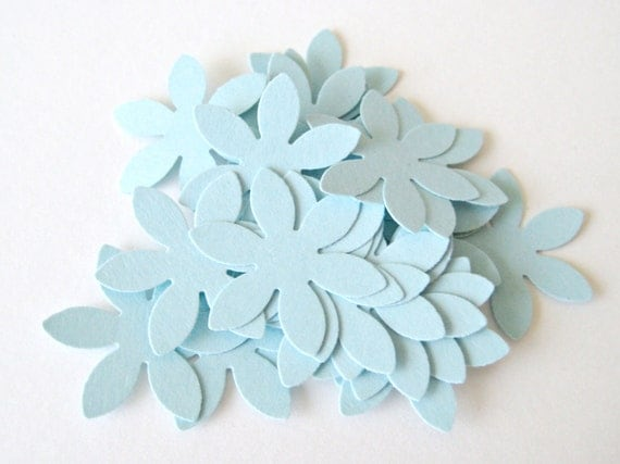 50 LIGHT BLUE Flower Die cuts punches cardstock 1 inch -Scrapbook, cards, embellishment, confetti