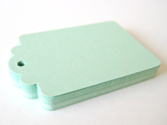 25 MINT GREEN Hang Tag, Gift Tag, Price Tag Die cuts punches cardstock 2.25X1.5 inch -Scrapbook, cards