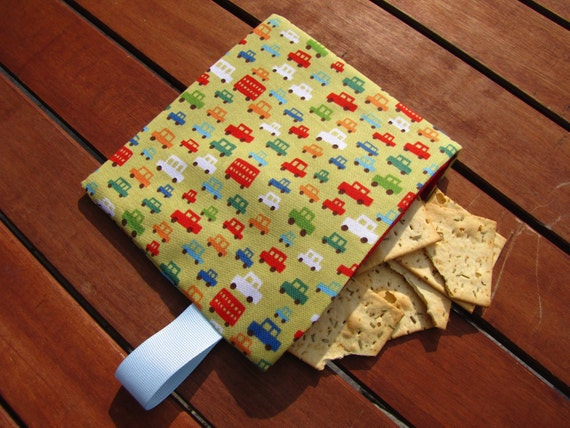 Reusable Snack Bag with Velcro Closure: Little Cars