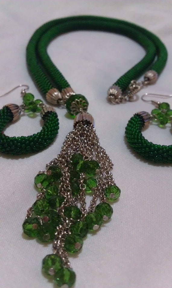 60% Off Sale Emerald Green Bead Crochet Necklace With Earrings
