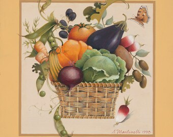 Vegetables harvest basket archival reprint