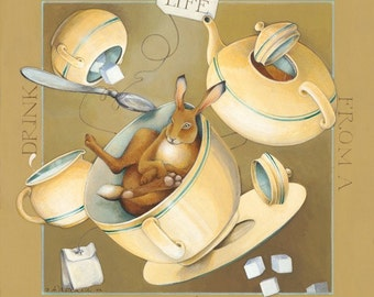 lithograph reprint original acrylic painting rabbit tea cup