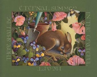 sleeping rabbit garden art lithograph reproduction