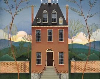 lithograph original acrylic home family house folk art