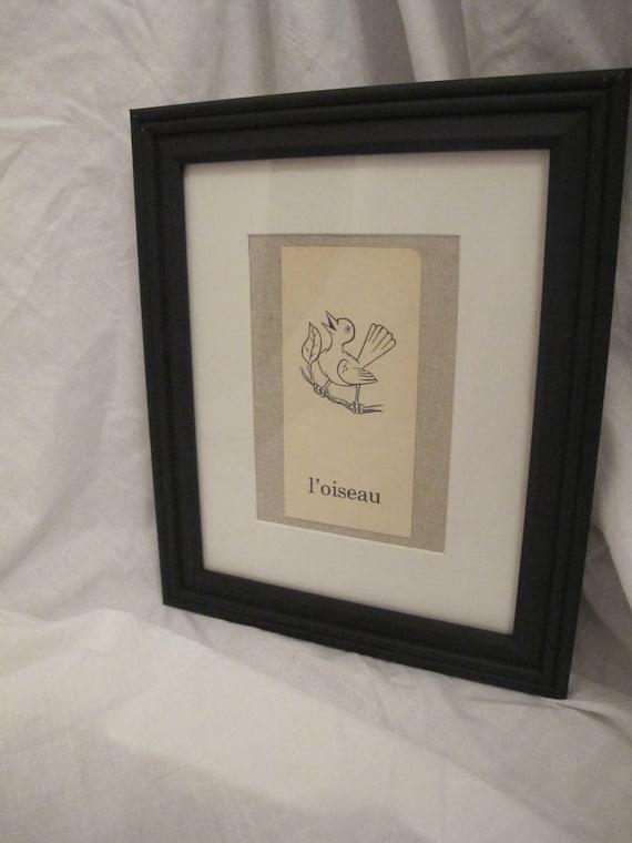 Framed Vintage French Flash Cards - Bird