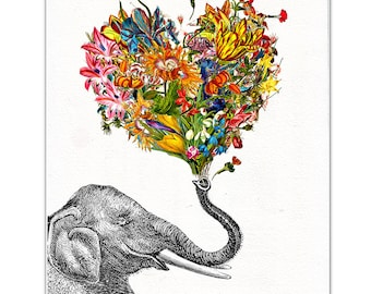The Happy Elephant - print, Mixed media Decorative art, Animal painting, drawing, illustration, portrait,Mothers day print, POSTER 8x10
