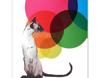 Mixed media Decorative art Animal painting drawing illustration portrait  print POSTER 8x10Siamese Cat with  Colorful Balls