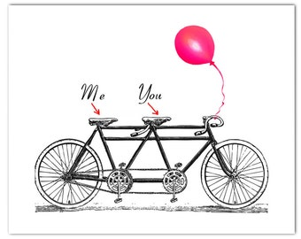 You and Me on the vintage Tandem Bicycle - ORIGINAL personalized ARTWORK - 8 x 10""