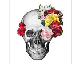 "Vintage Skull and Roses - ART Print 8 x 10"""