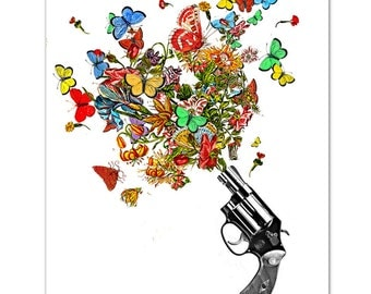 "Vintage REVOLVER , Butterflies and Flowers- ART Print 8"" x 10"""