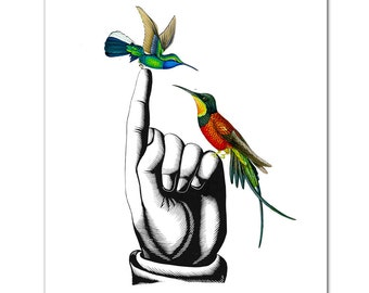 "HUMMINGBIRDS on Hand - ART Print 8"" x 10"""