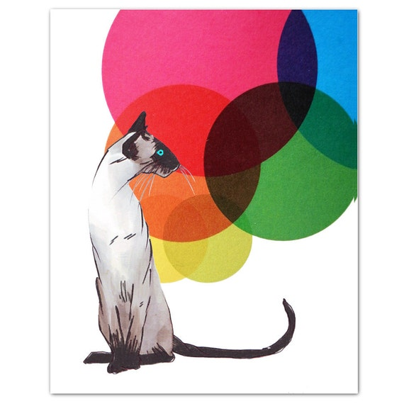 Mixed media Decorative art Animal painting drawing illustration portrait  print POSTER 8x10Siamese Cat with  Colorful Balls - RococcoLA