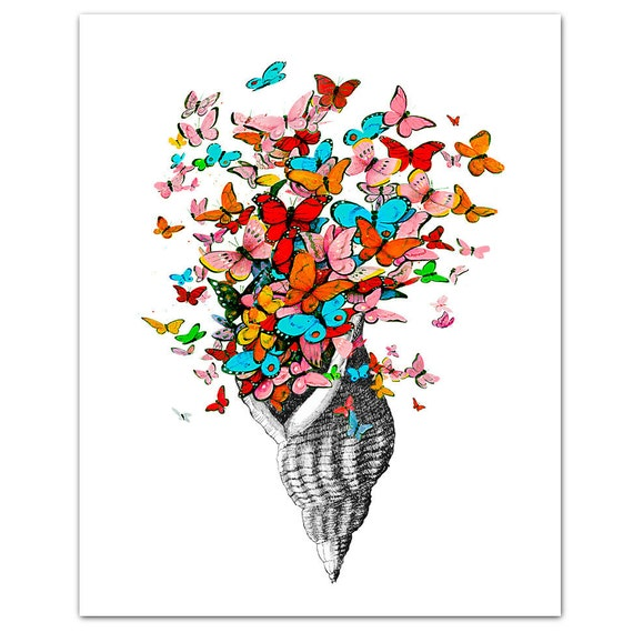 "Butterfly Shell - ART Print 8"" x 10"""