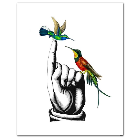 "HUMMINGBIRDS on Hand - ART Print 8"" x 10"""