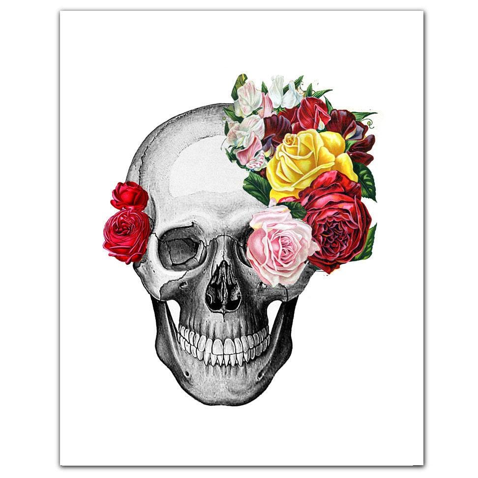 Vintage Skull and Roses ART Print 8 x 10
